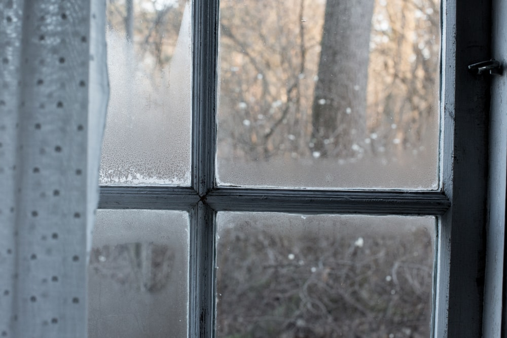 white window with curtain