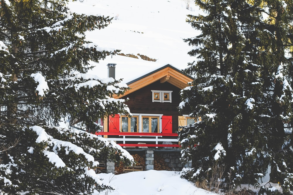 house filled with snow