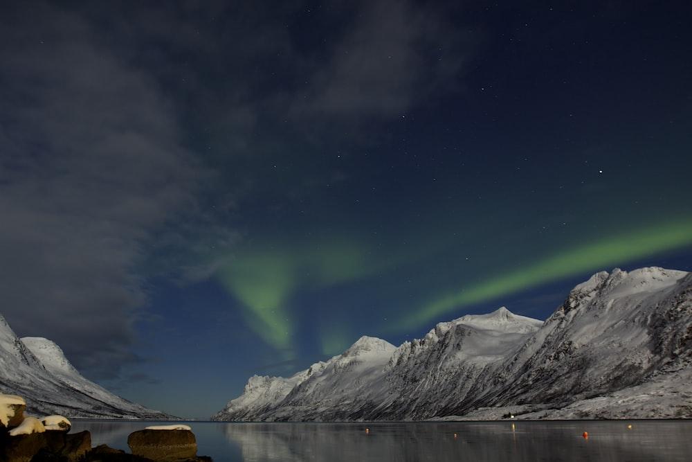 white mountains under Aurora