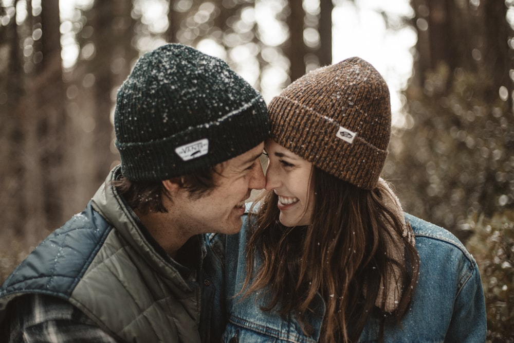 smiling couple with close face