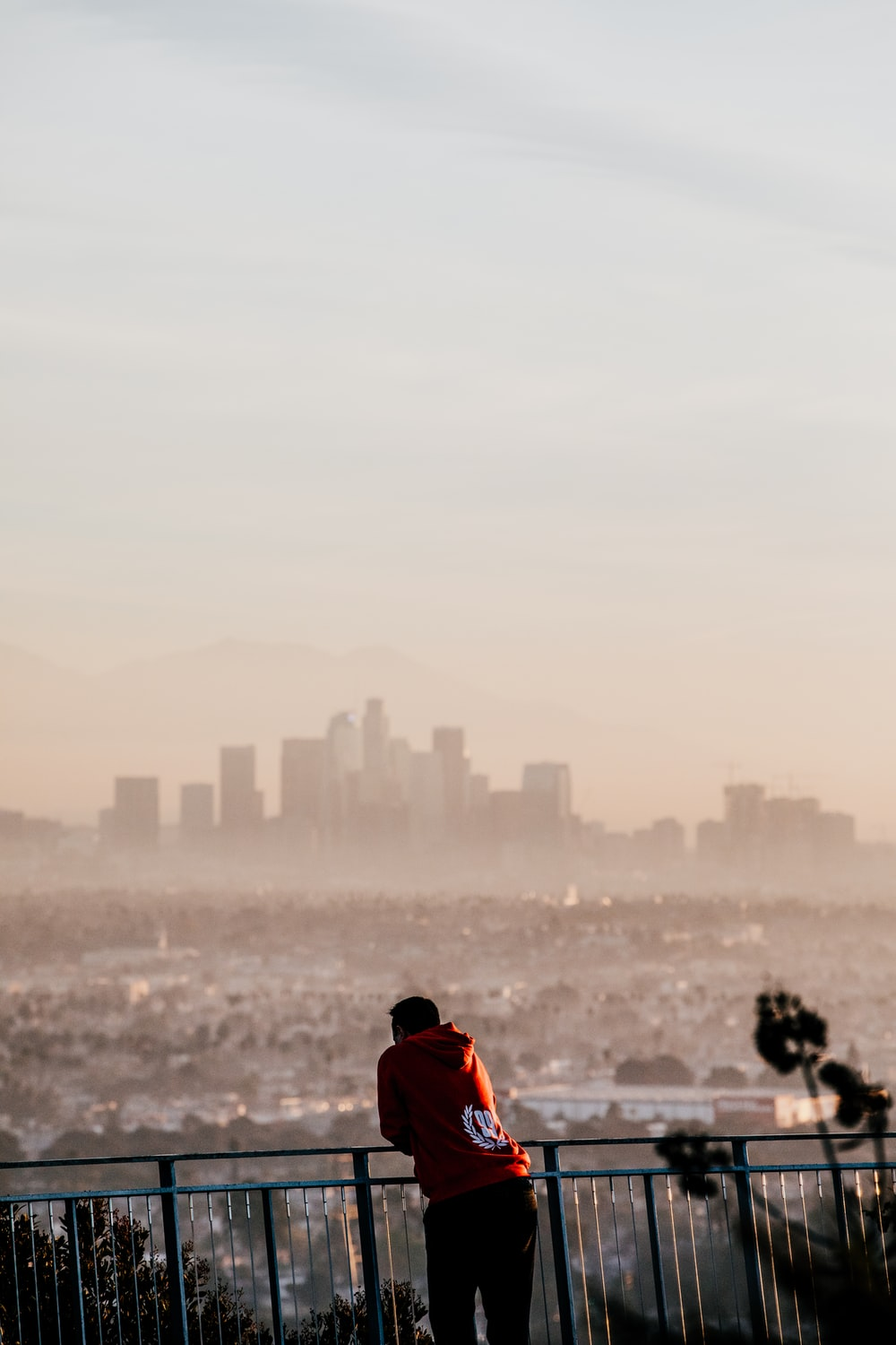 person in red hoodie leaning on rail facing city at daytime