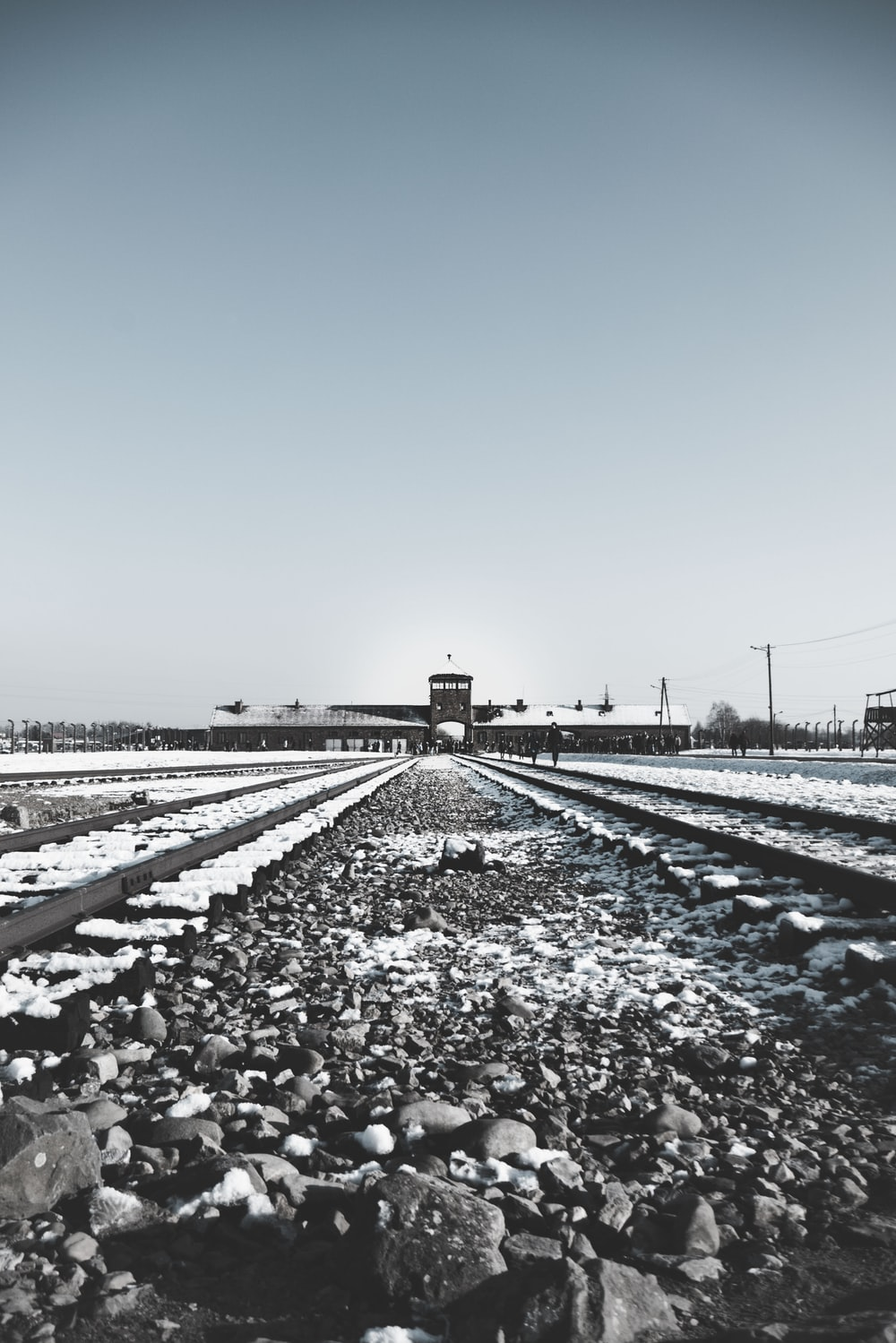 photography of railway and station