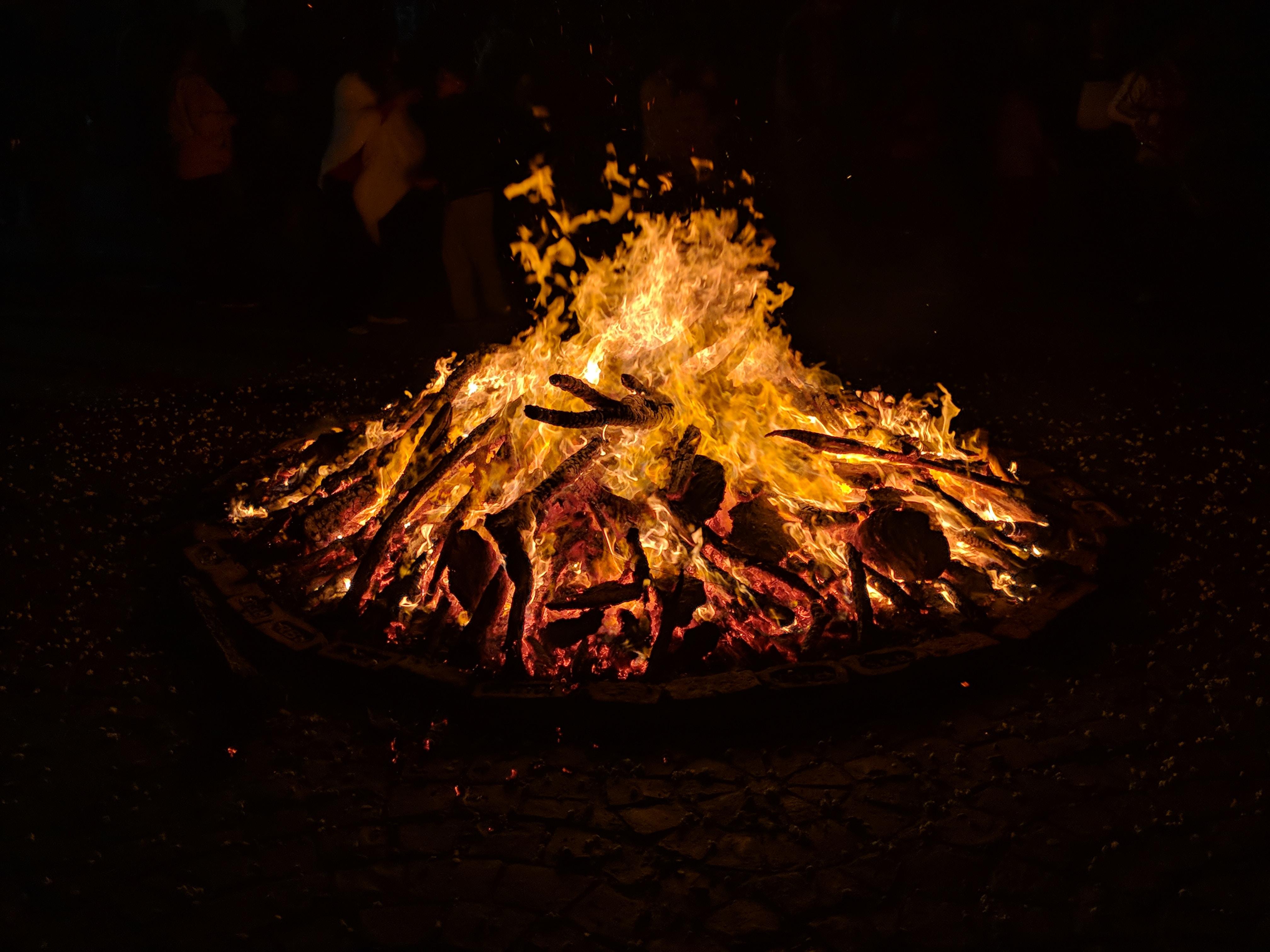 lit-up firewood
