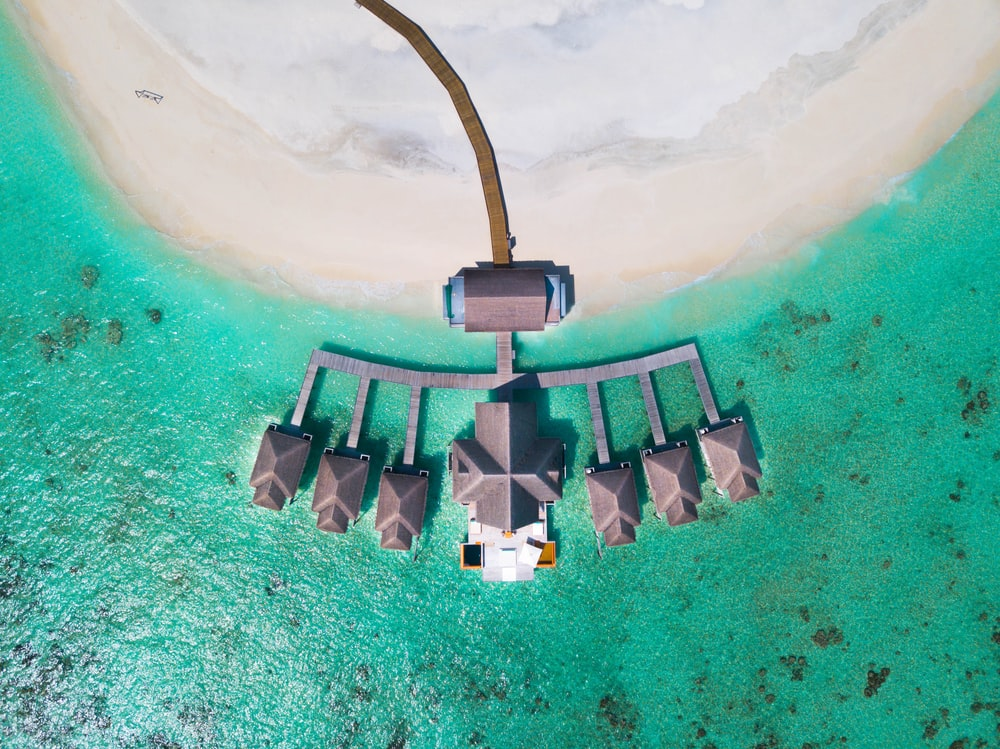 aerial view of cabanas on beach