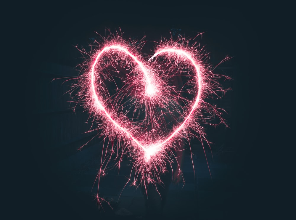 heart shaped pink sparklers photography