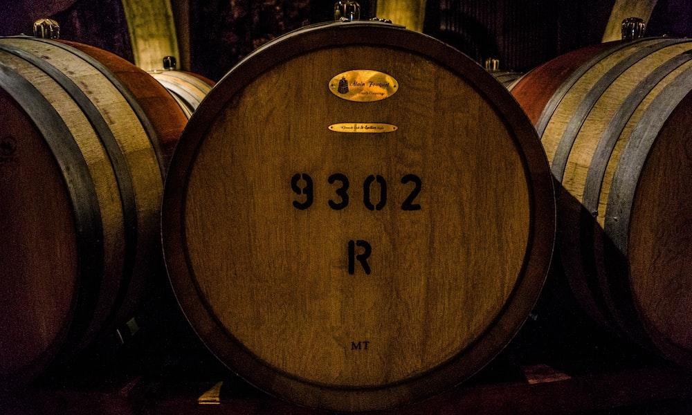 three brown barrels