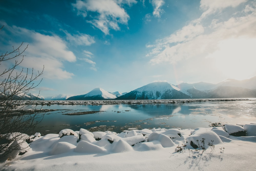 snow covered mountain reflections at daytime