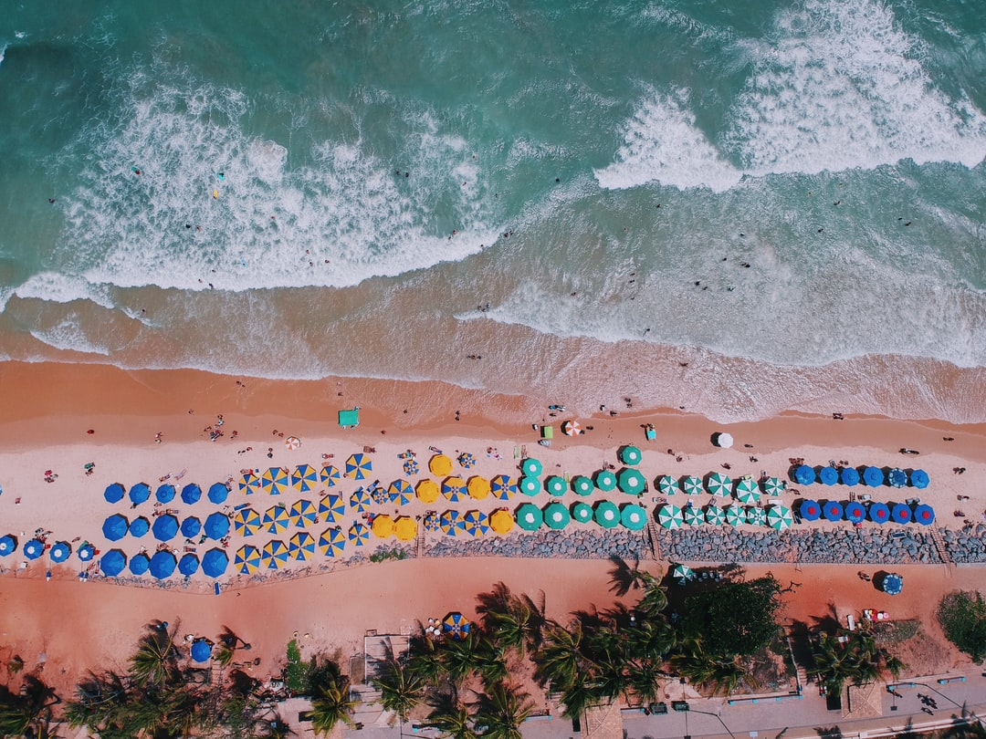 Shot taken with DJI Spark in a beautiful summer day in Ponta Negra Beach (Natal, Brazil). One of the most popular destinations in Brazil.