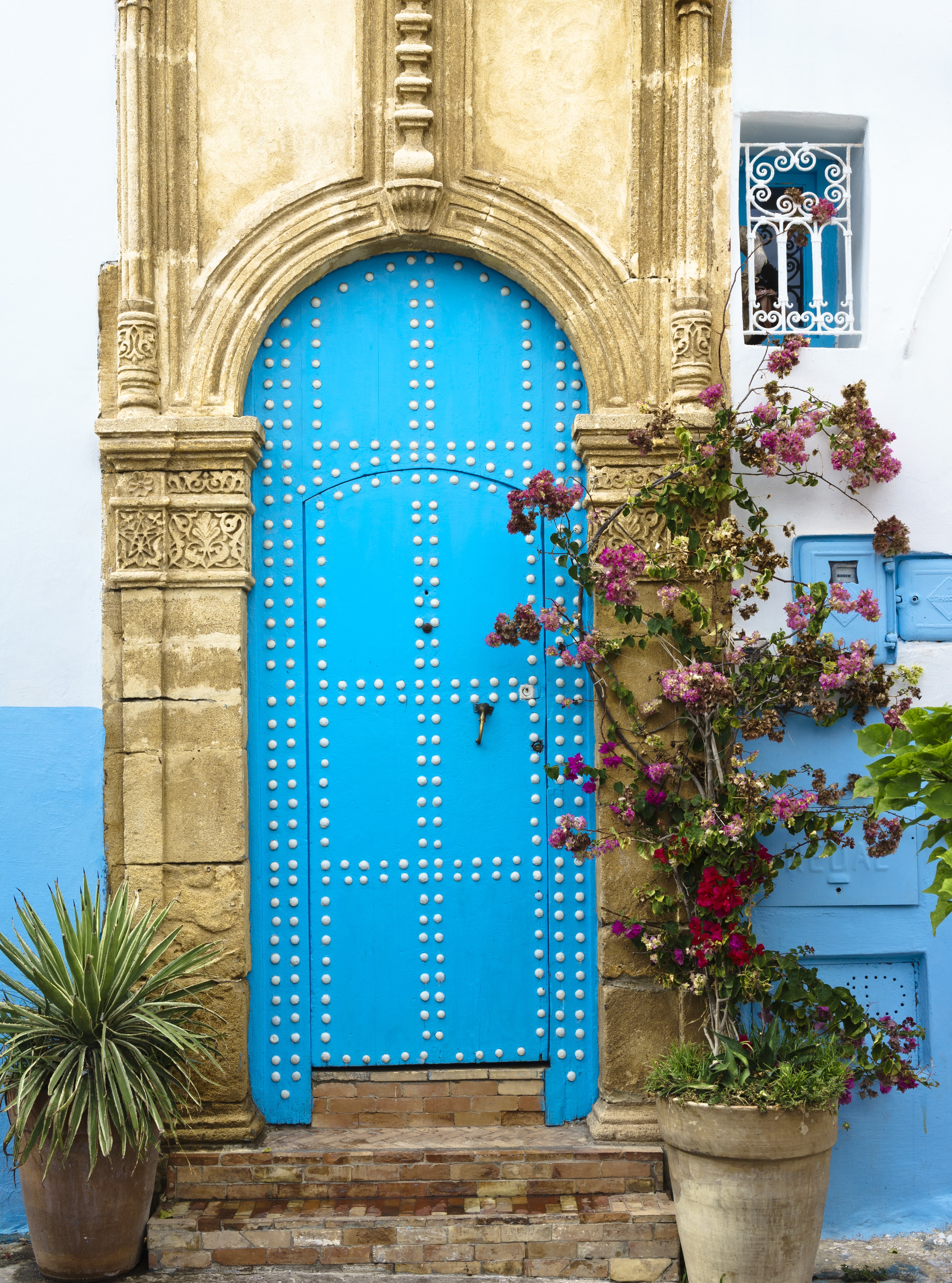 blue and white metal door