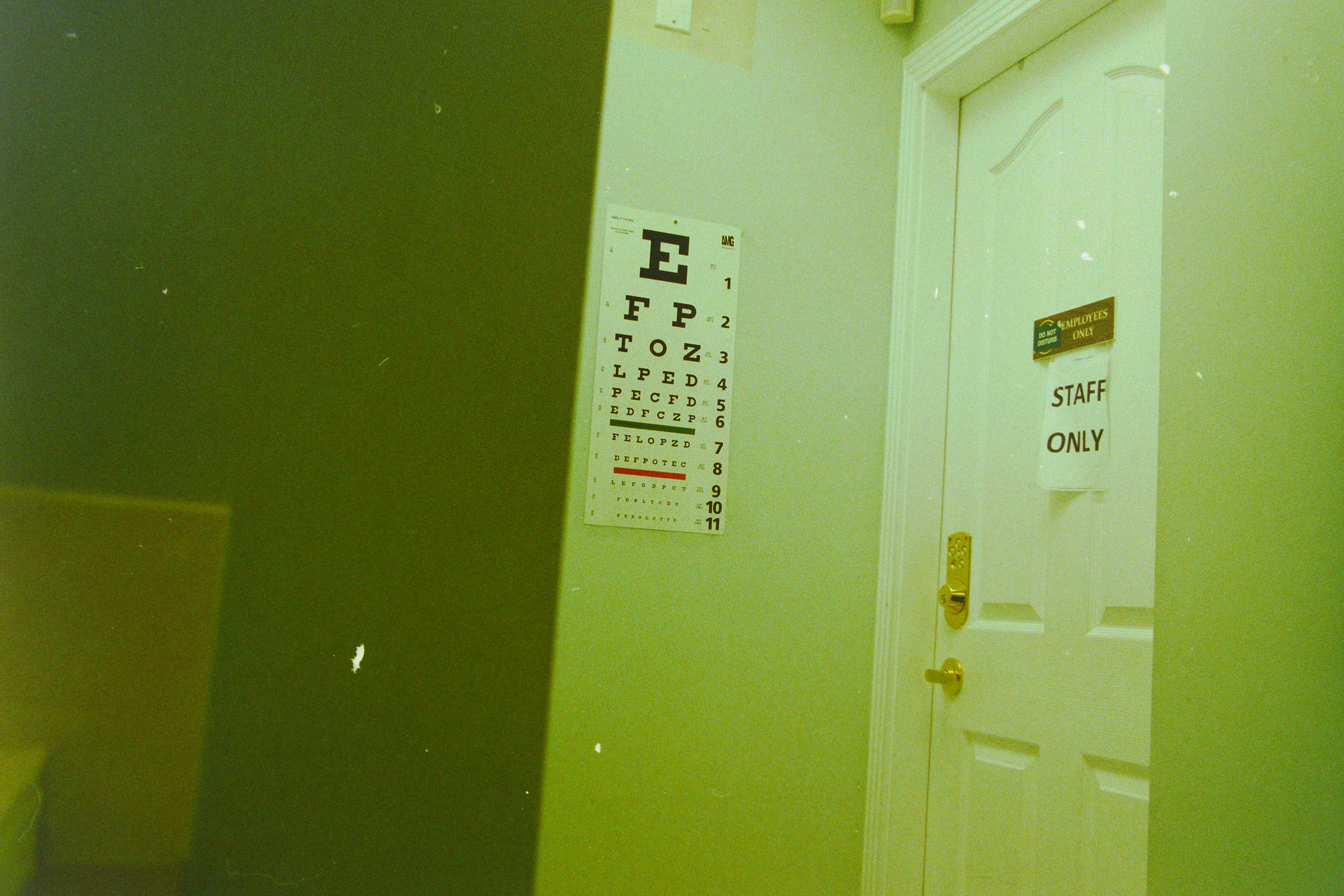 eye test chart on wall in room