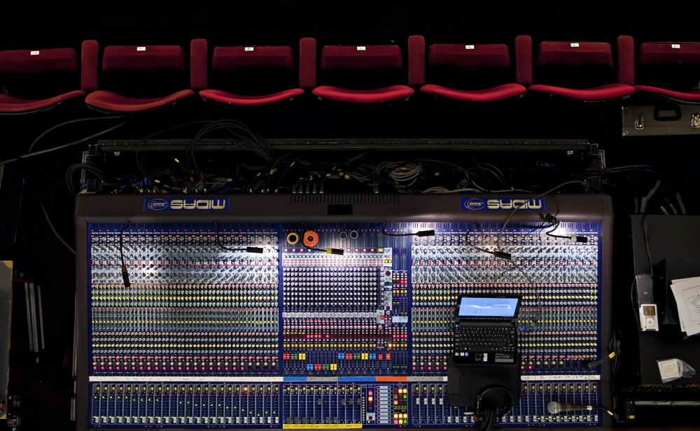 flat-lay photo of mixing console