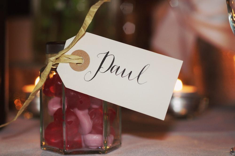 glass jar with card