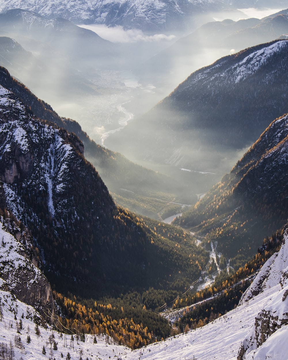 tree-covered valley between snow-capped mountains aerial photo