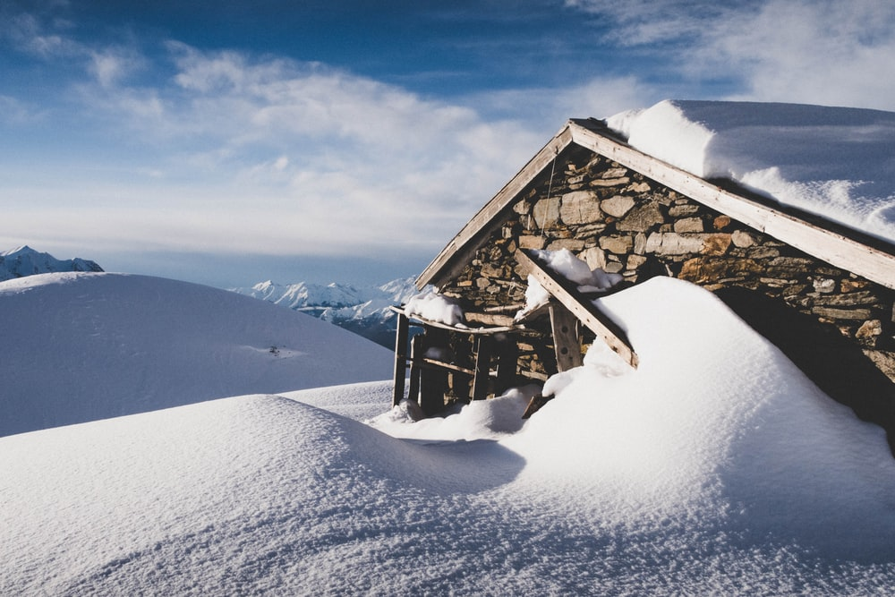 stone house in snowfield