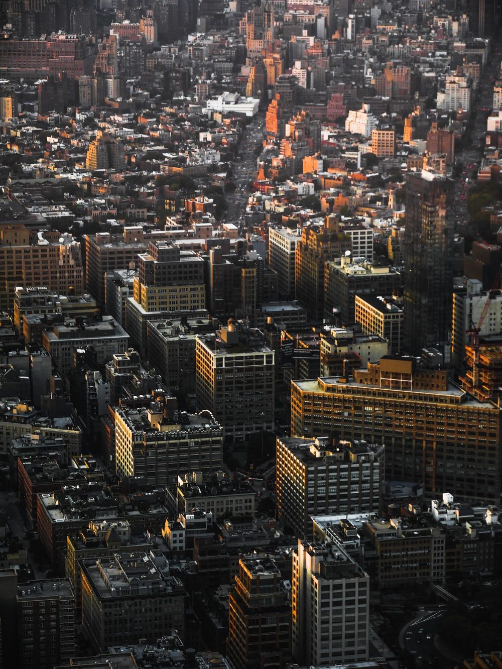 aerial view of concrete buildings