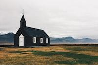 black and white church at daytime