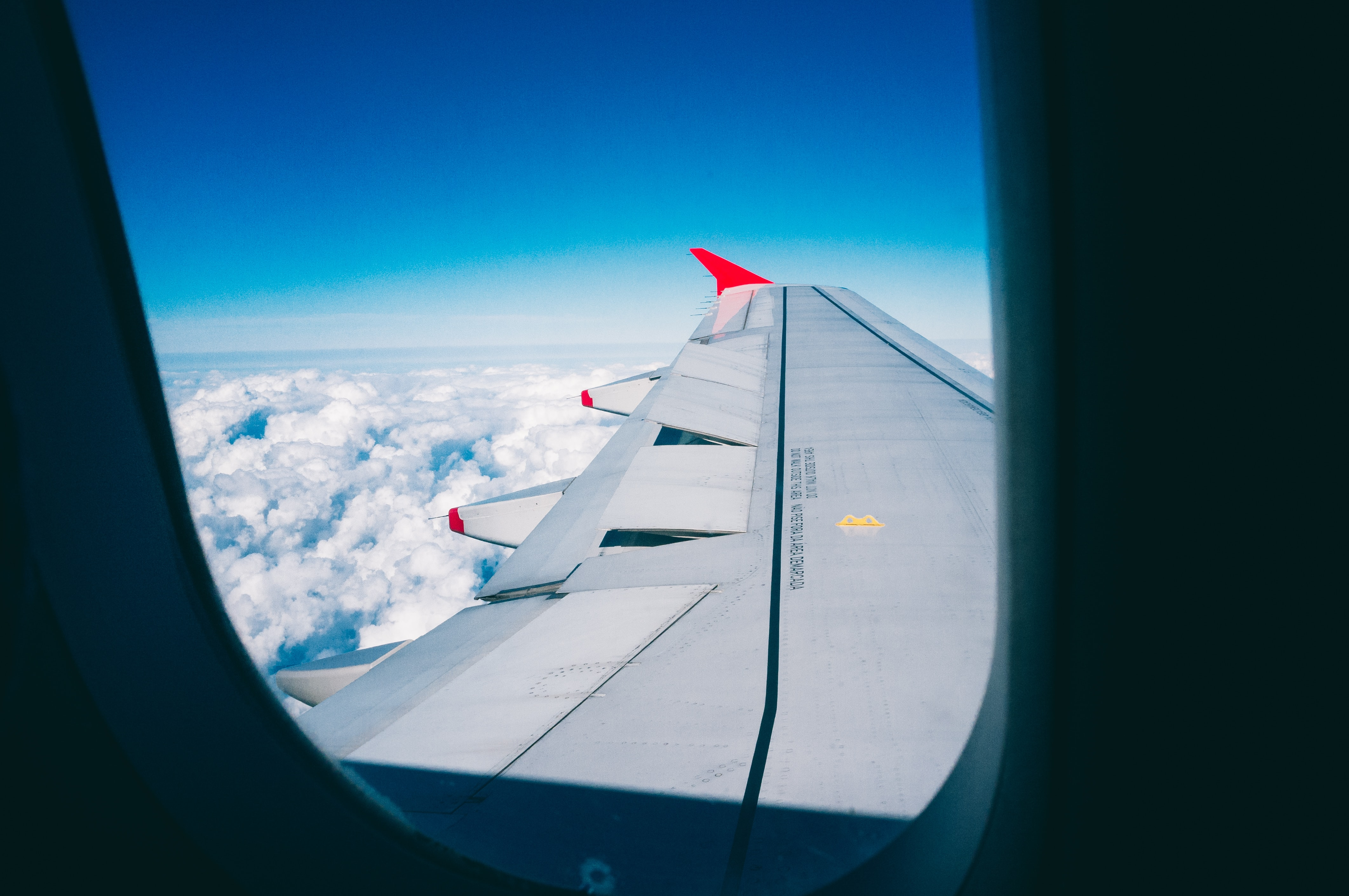 gray airplane wing