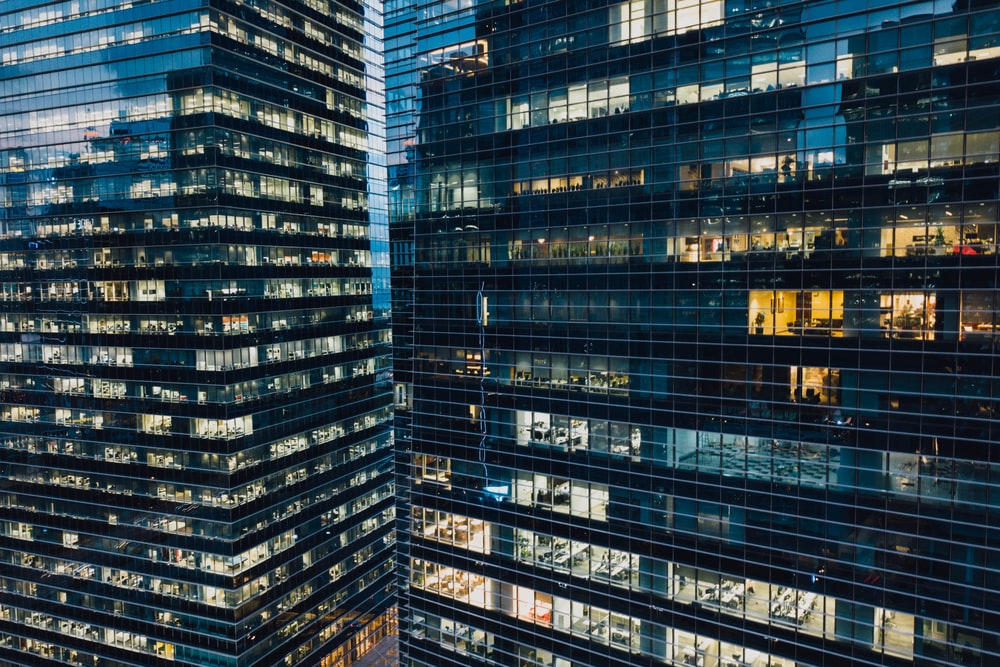 high-angle photography of black high-rise buildings