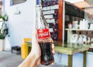person holding Coca-Cola soda bottle
