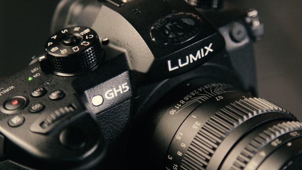 black Lumix DSLR camera