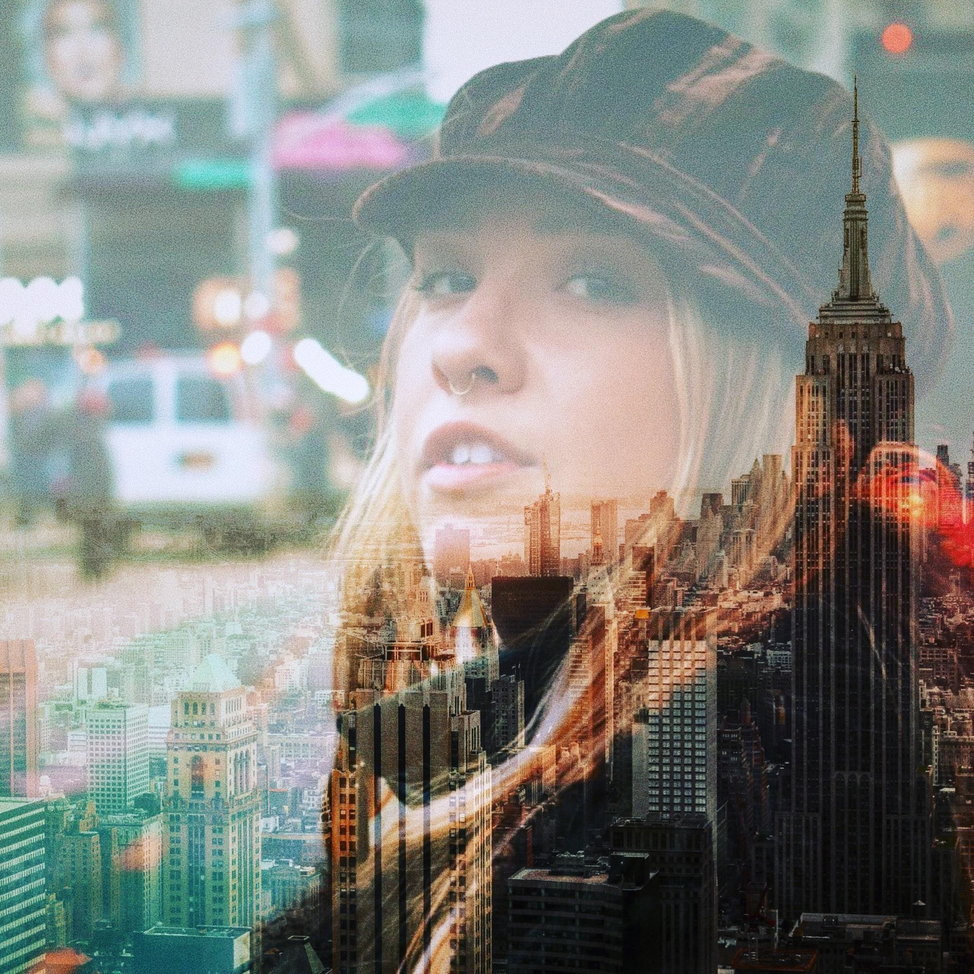 New York City and woman's face overlay