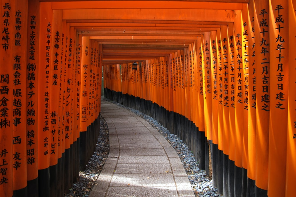 pathway with wooden arch gates with kanji scripts