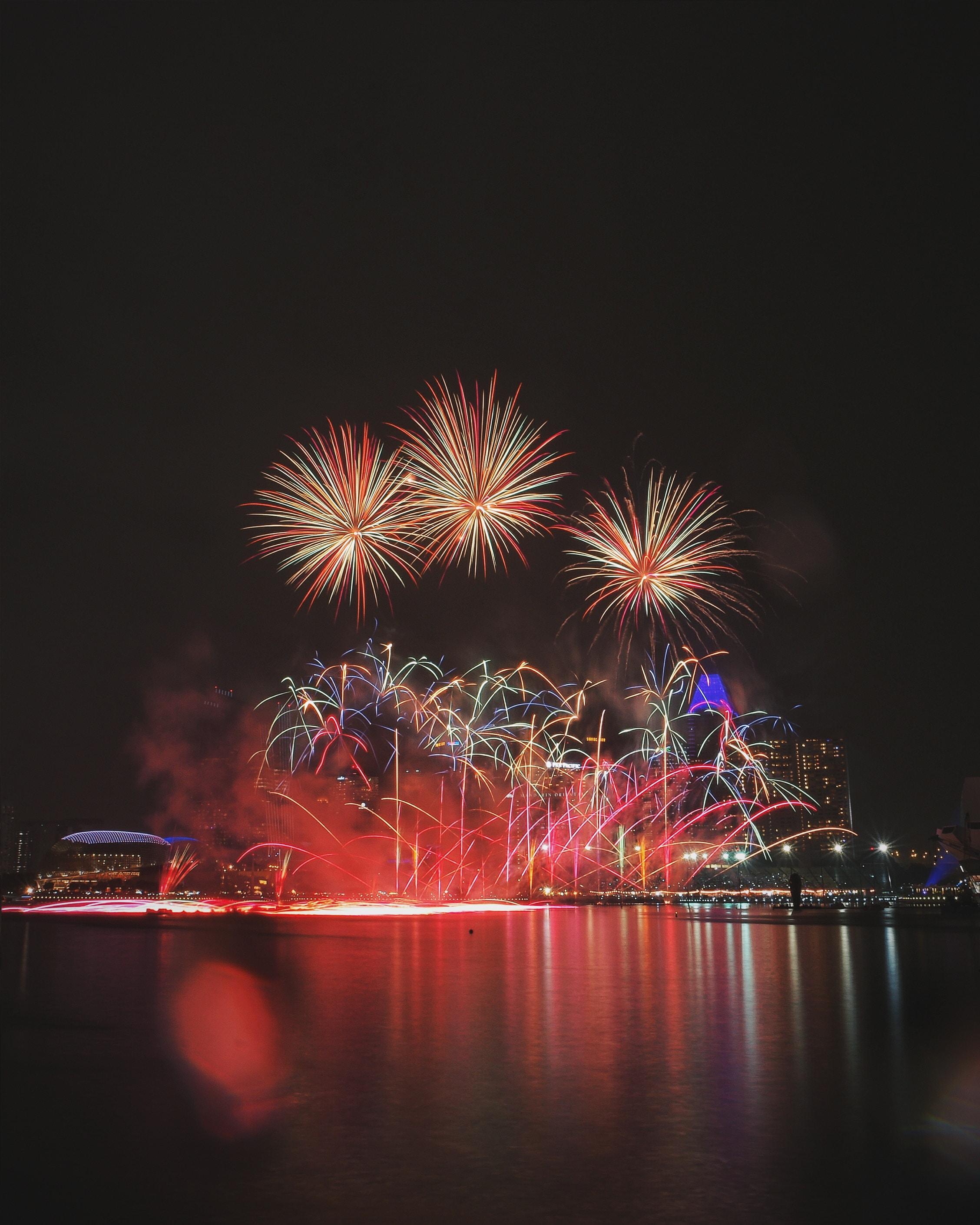 firework display during night time