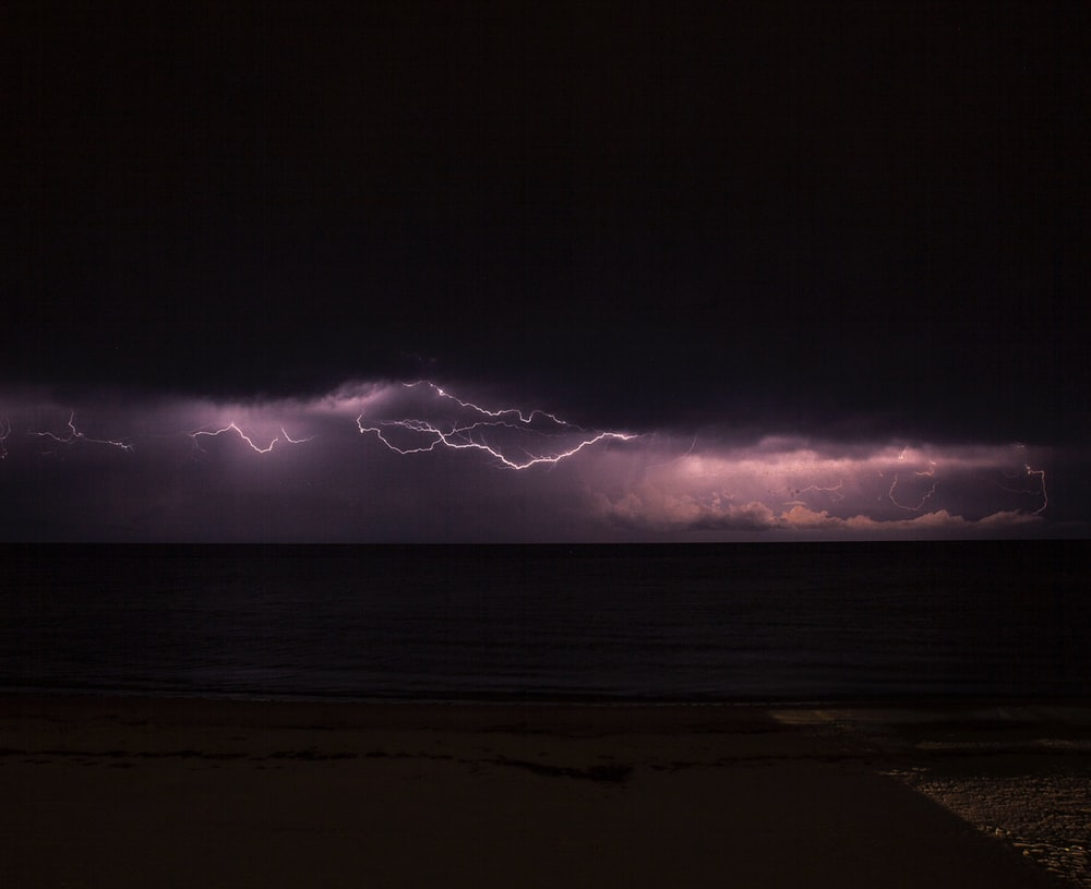 sea under storm with lightning