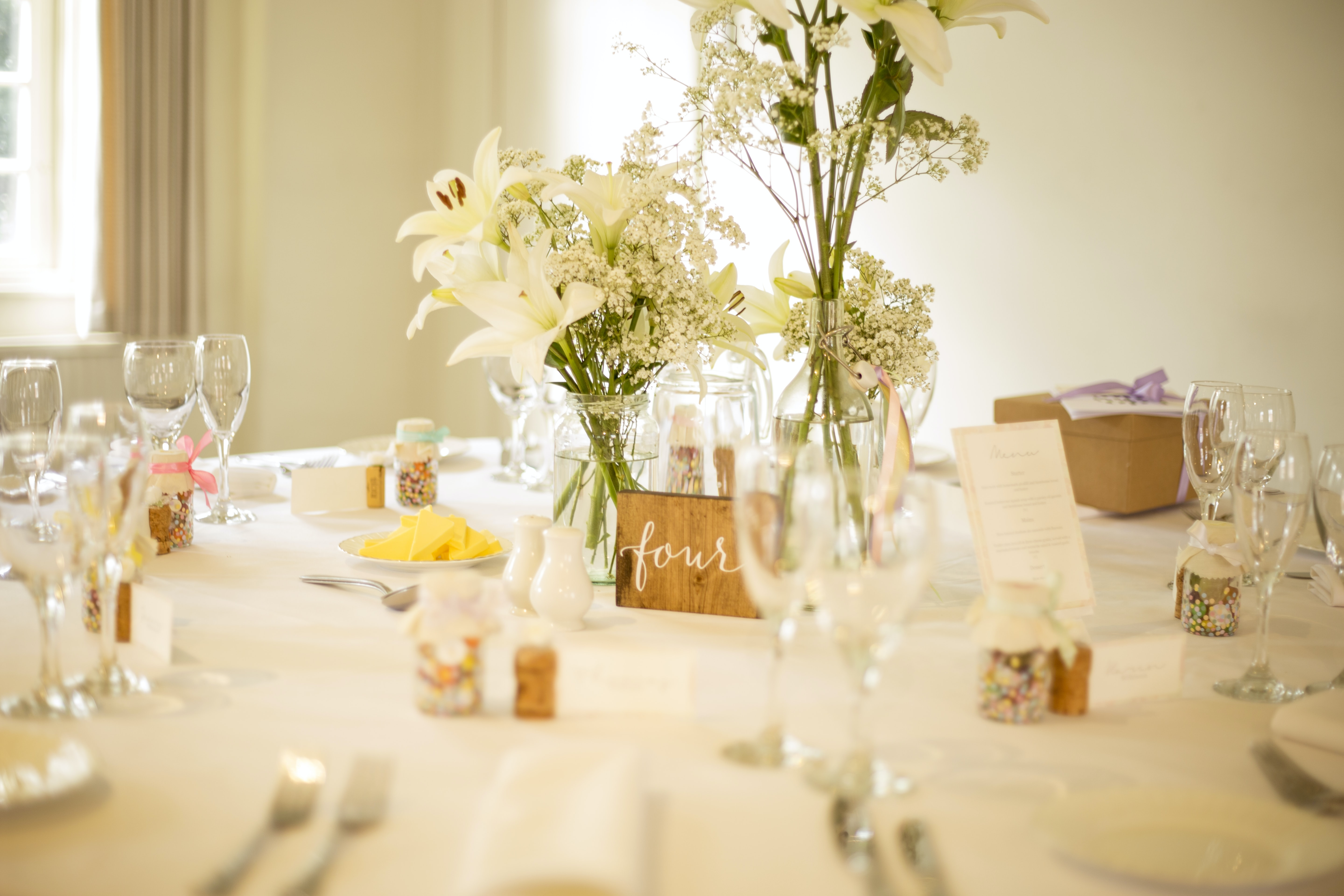 table with dinnerware set
