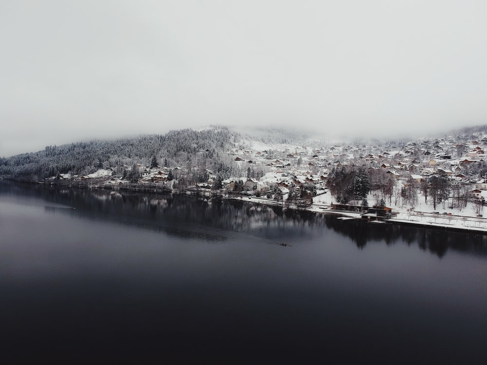 aerial view of snow covered city