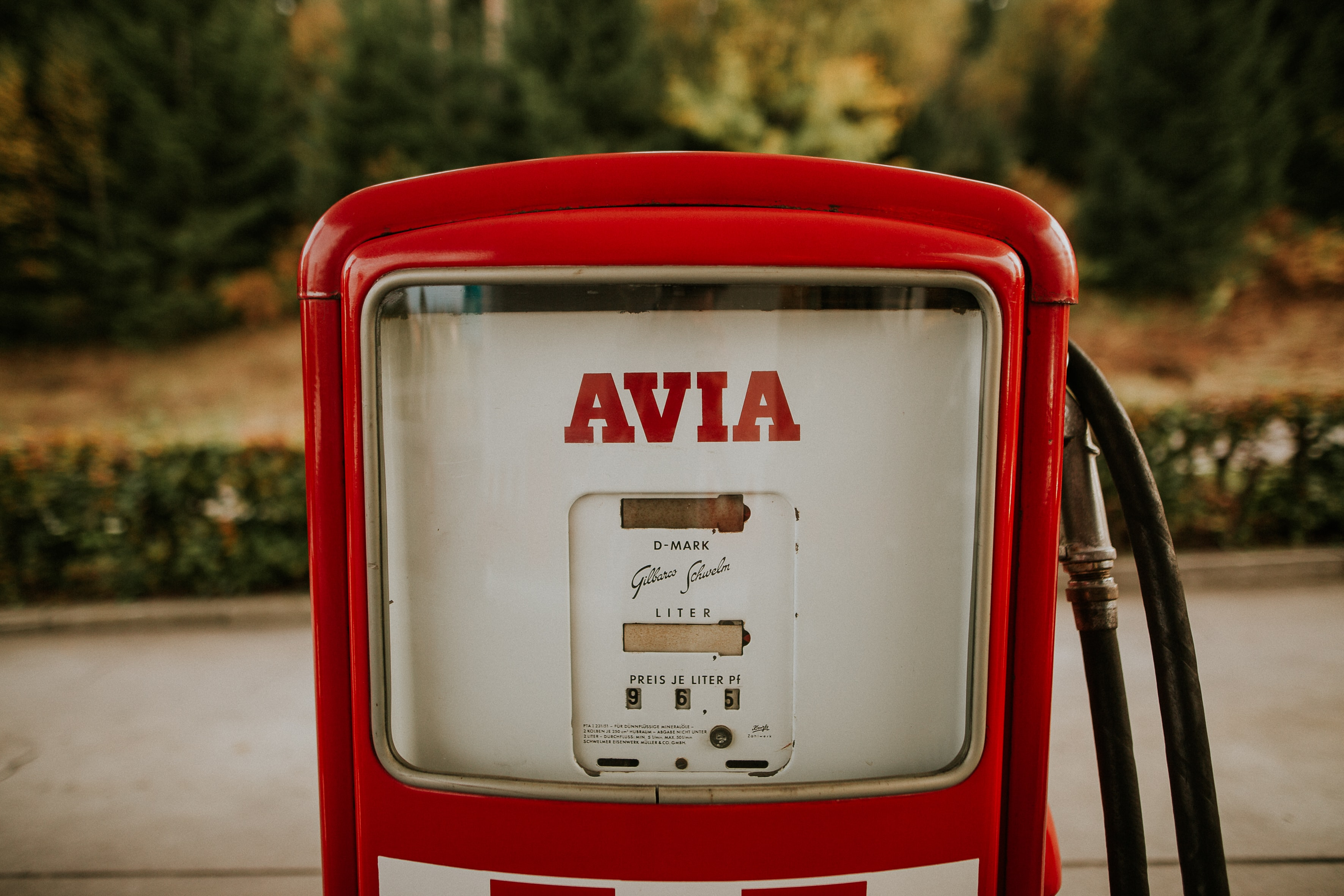 shallow focus photography of white Avia gas pump