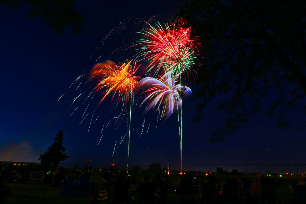 assorted-color fireworks display during night time