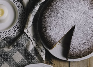 round white ceramic plate with sliced cake and fork on brown table