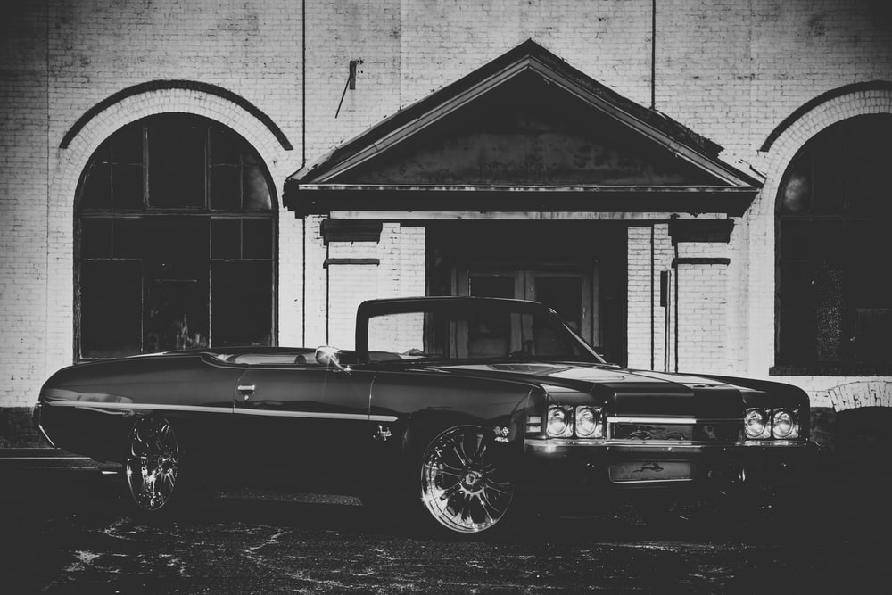 grayscale photography of convertible