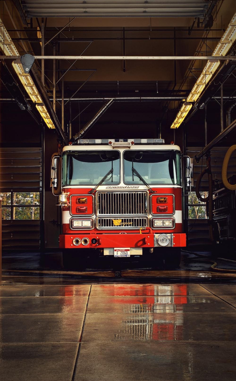 red firetruck on garage