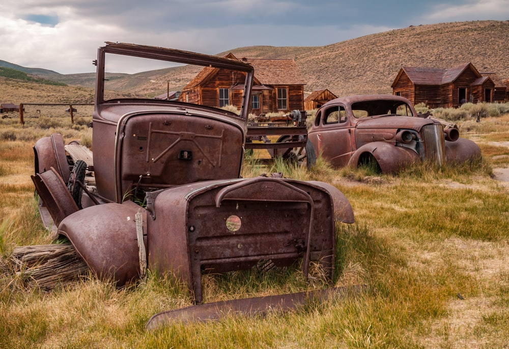 brown metal vehicles