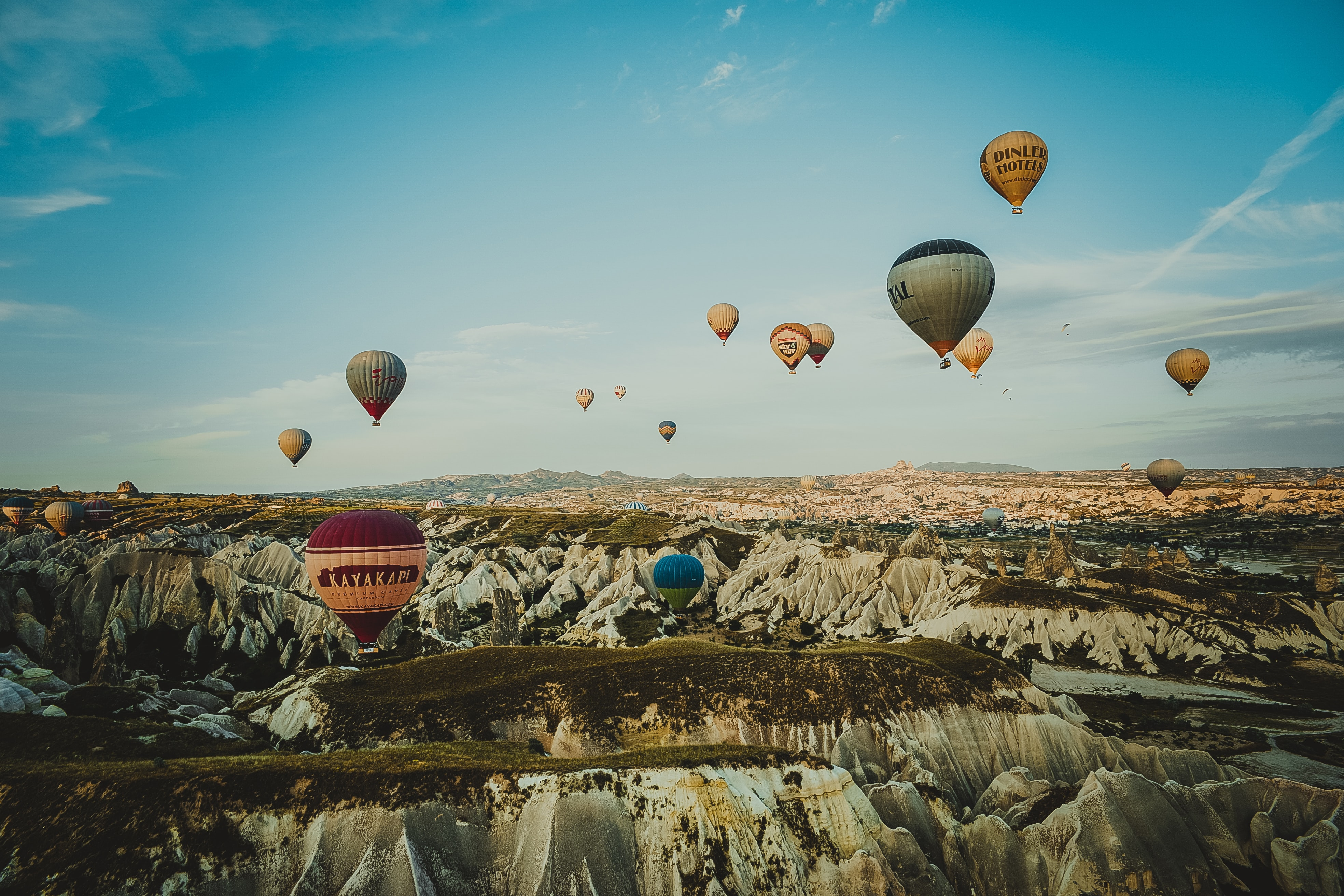 hot air balloons floating in the sky