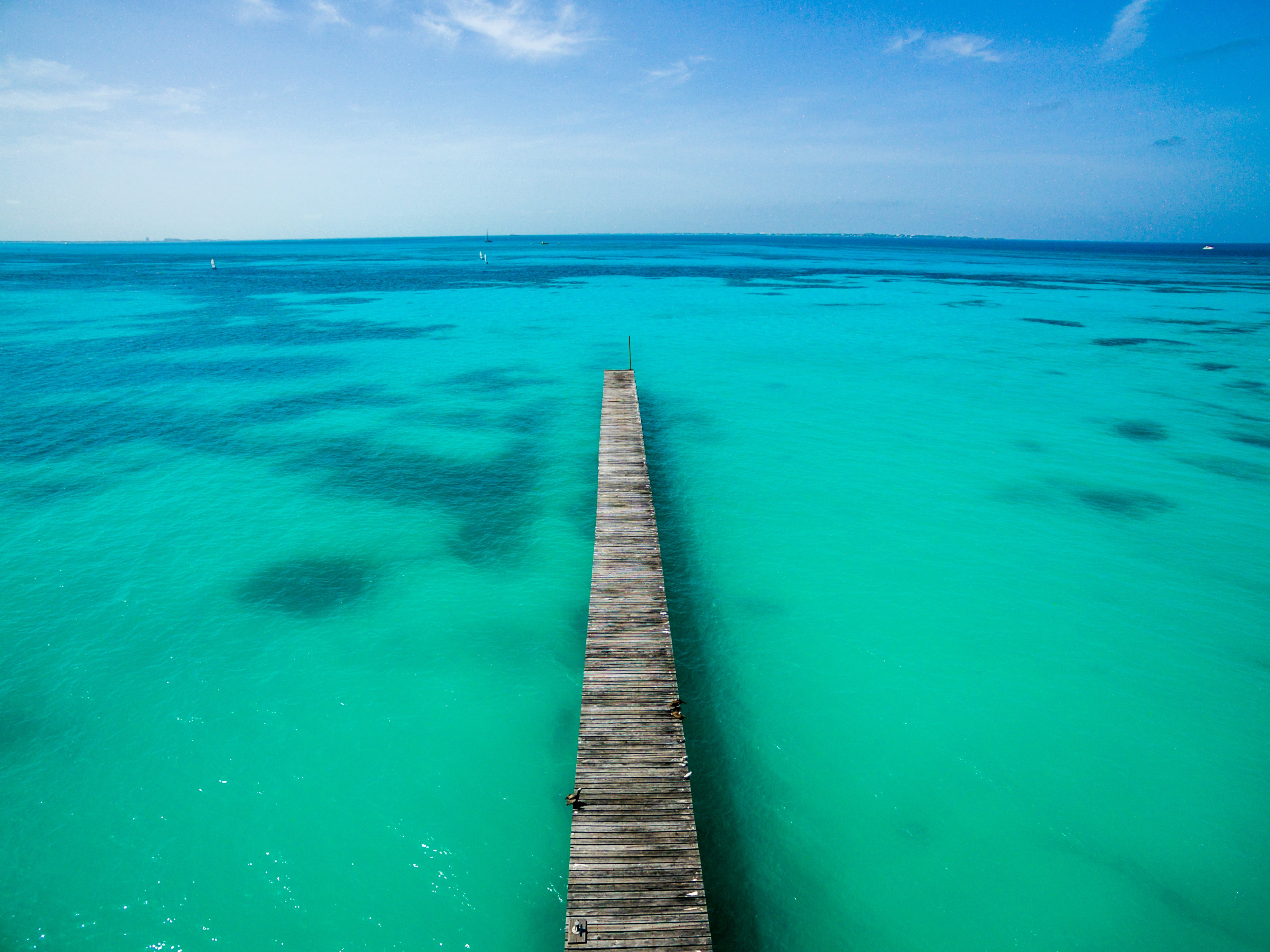 aerial photography of brown wooden beach dock and blue ocean under clear blue sky