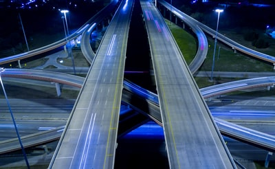 aerial view of road in time lapse photography