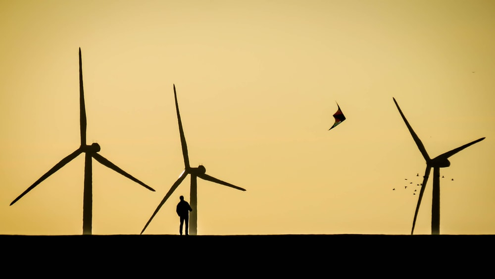 silhouette of person standing near windmills