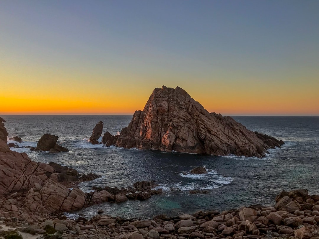 After a day spent driving up the coast of Margaret River, I arrived at this unique vista to watch the sun set over Sugar Loaf rock
