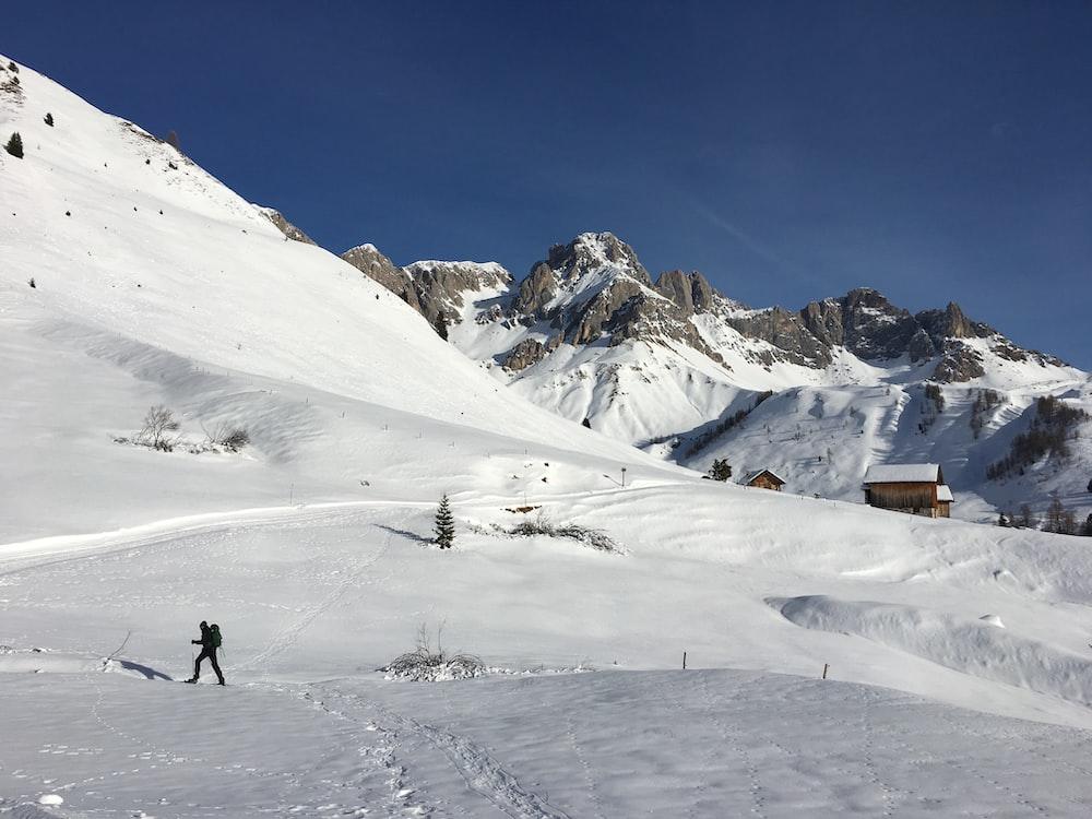 man walking on snowy mountain