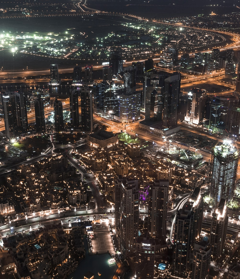city landscape during night