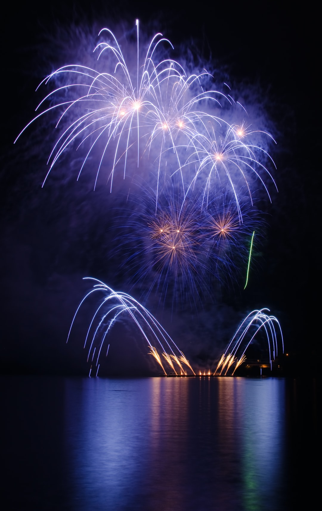 Fireworks show above the lake