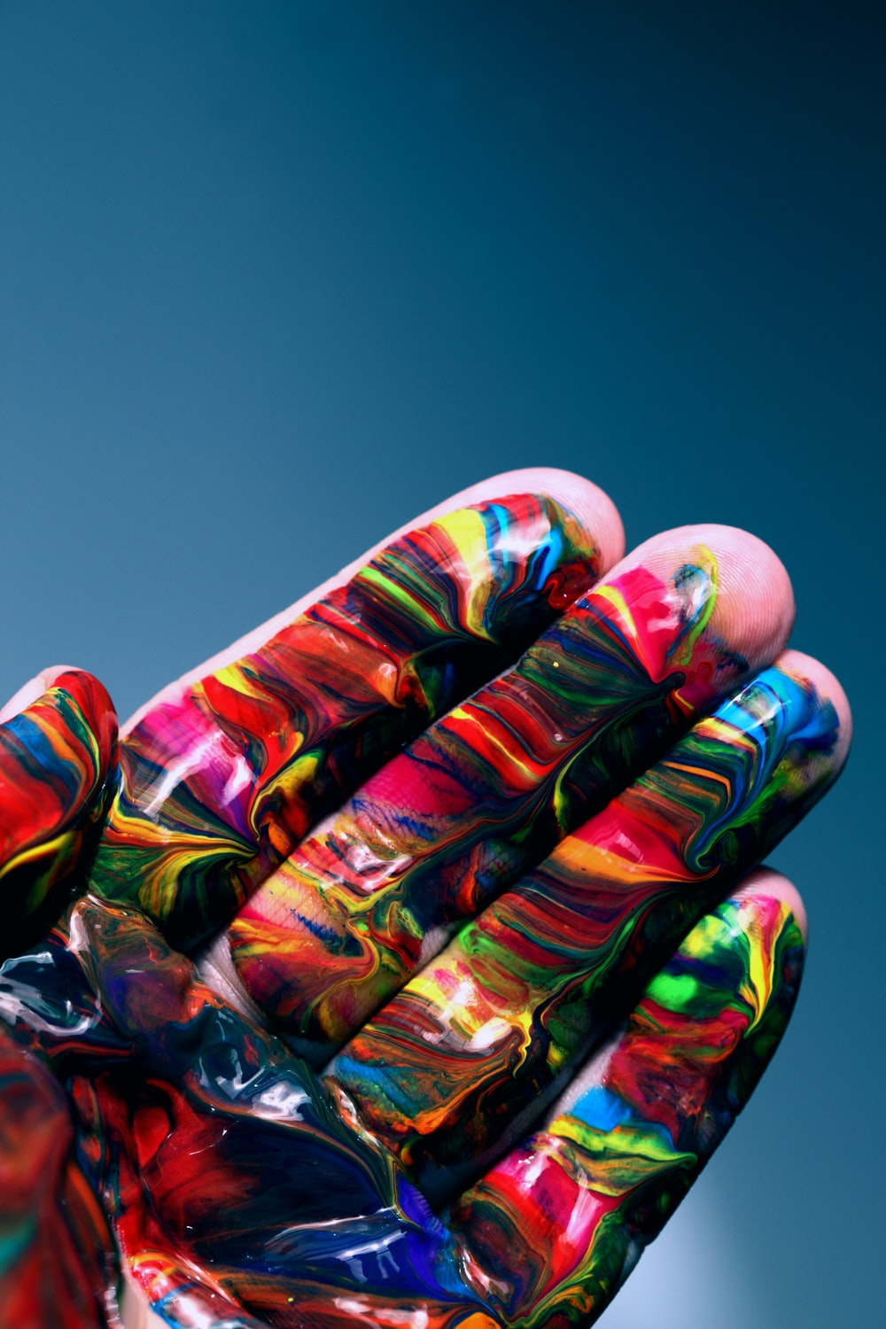 multicolored hand paint