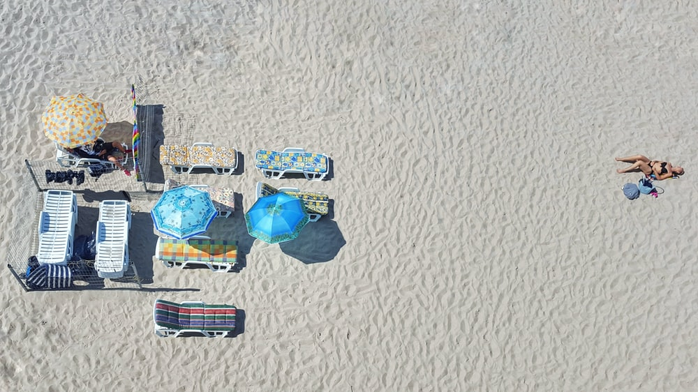 aerial photography of woman sun baiting