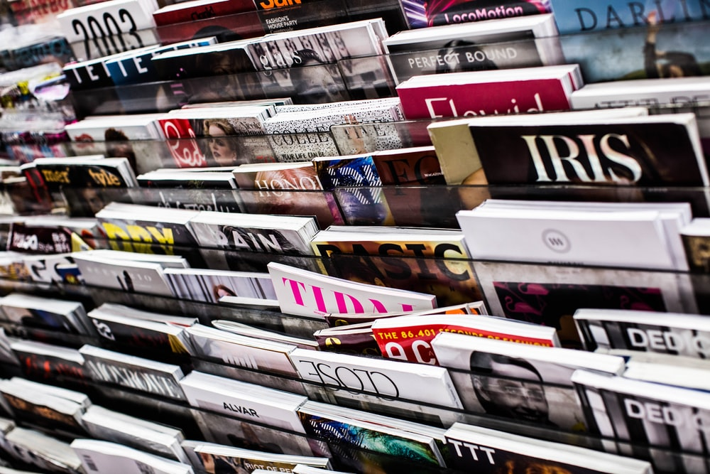 magazines on rack