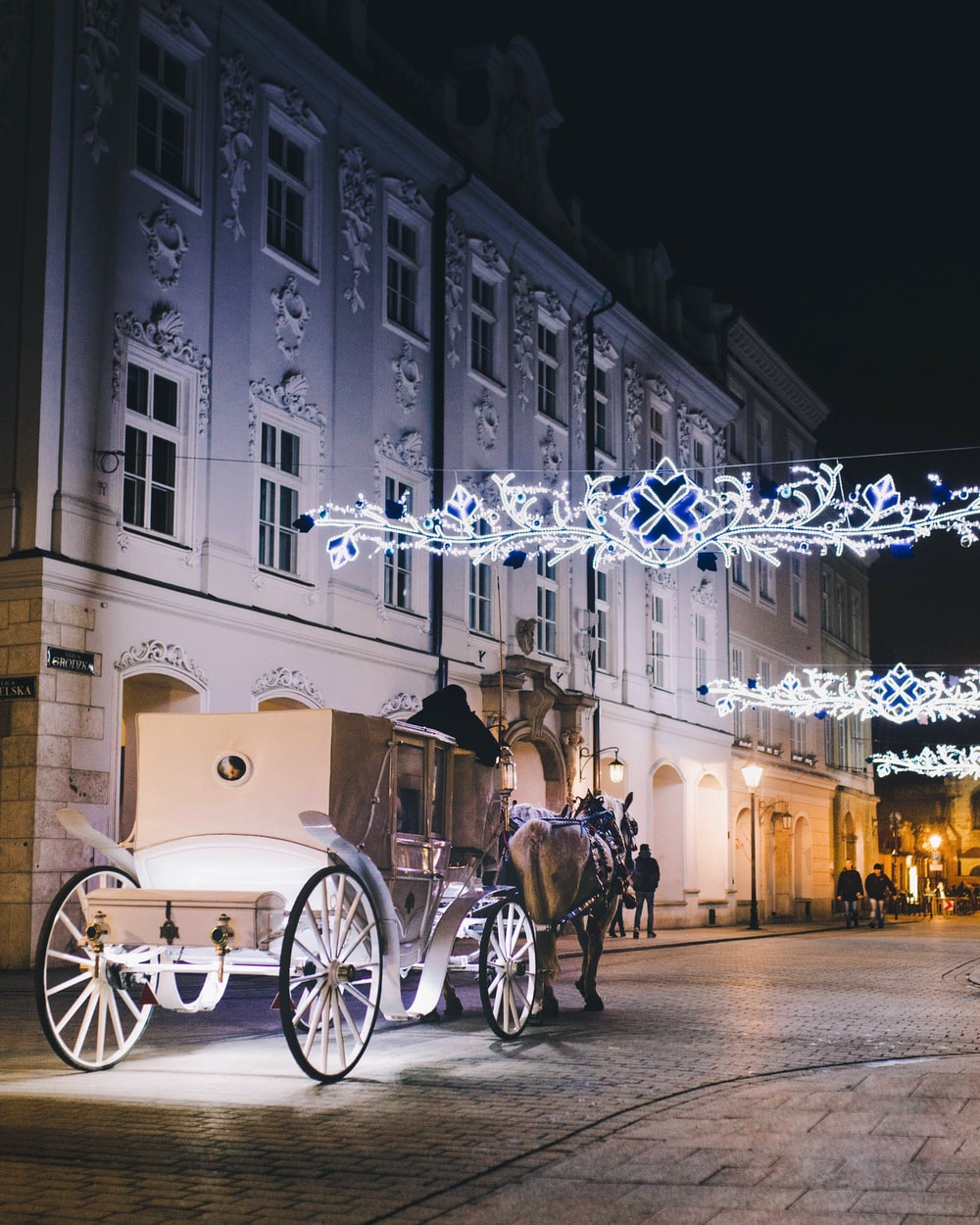 horse with carriage near building
