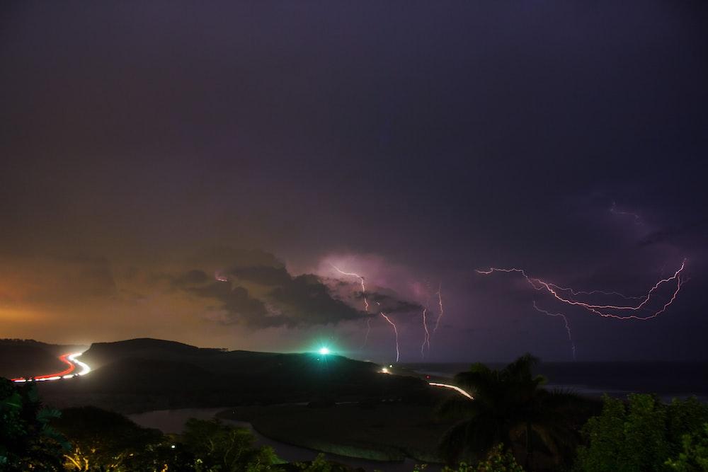 thunder strike above island