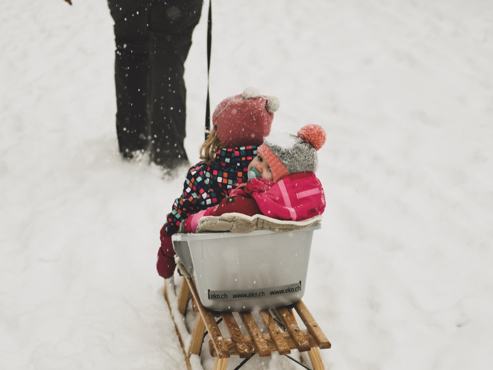 person pulling babies riding on white and brown sled during daytime